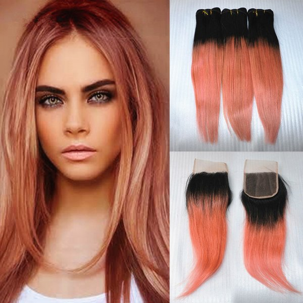 Top Quality 1B/Rose Gold Ombre Brazilian Silk Straight Two Tone Virgin Human Hair 3 Bundles With 4x4 Lace Top Closure 4Pcs Lot
