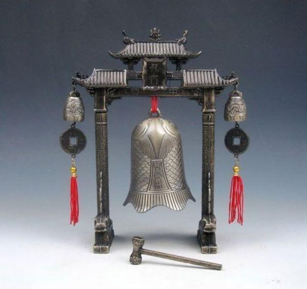 Chinese Set Metal Arch FENG SHUI Carp Fish Dragon Chime Bells Gong Home Decor