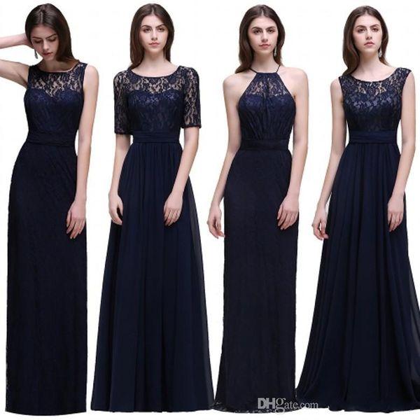Elegantes vestidos de dama de honor de gasa de encaje azul marino oscuro 2017 nuevos diseñadores vestidos de dama de honor baratos Verano Jardín Bodas Hasta el suelo Vestidos de invitados
