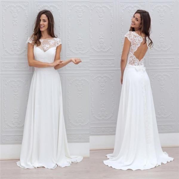 2019 Cuello de joya Vestidos de novia de playa blancos simples Una línea Sin respaldo Longitud del piso Casquillo elegante Mangas cortas Vestidos de novia baratos