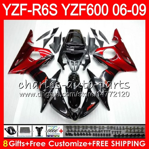 8Gifts 23Color Body For YAMAHA YZF600 YZFR6S 06 07 08 09 red flames 57HM3 YZF R6 S YZF 600 YZF-R6S YZF R6S 2006 2007 2008 2009 Fairing kit