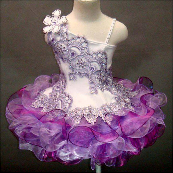 Una spalla di pizzo perline fatti a mano fiore in organza ball gown cupcake bambina bambine pageant abiti ragazze di fiore per matrimoni glitz