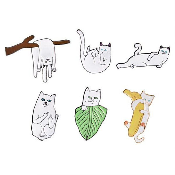 6pcs/set Personality Enamel White Animal Lazy Cat Brooches Women Fashion Jewelry Wedding Banquet Scarf Gifs Brooch Pin DH339