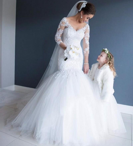 Sexy Long Sleeves Lace Mermaid Wedding Dresses Tulle V Neck 2017 Wedding Gown Bridal Bride Dresses Robe de Mariee Trumpet Dresses