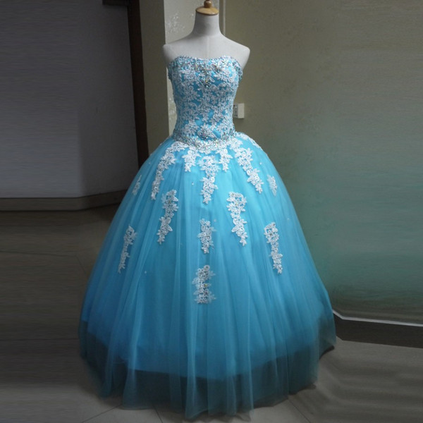 Cheap Party Dresses for Girls 15 years Ball Gown Strapless White Lace with Crystals Turquoise Quinceanera Dresses Tulle Skirt 2019 Popular