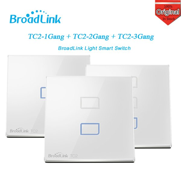 Wholesale-Broadlink TC2 1/2/3 Gang Wireless Wifi Remote Wall Touch Screen Light Smart Switch Smart Home Control Automation By IOS Android