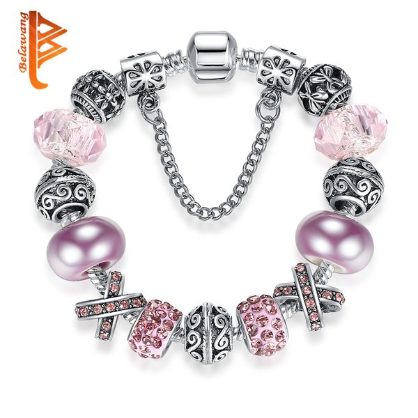BELAWANG Wholesale Silver Heart Charm Bracelet with Safety Chain Pink Simulated Pearl & Murano Crystal/Glass Bead Bracelet Original Jewelry