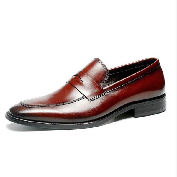 Mode Hommes Chaussures En Cuir Véritable Hommes Chaussures Habillées Marque Luxe Vache En Cuir Hommes D'affaires Décontractée Classique Gentleman Chaussures Homme