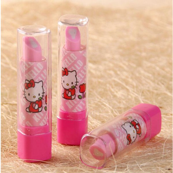 3 Style Lipstick Shape Eraser Korean Creative Stationery School Supplies Pupil award Gift Kids Cartoon Erasers