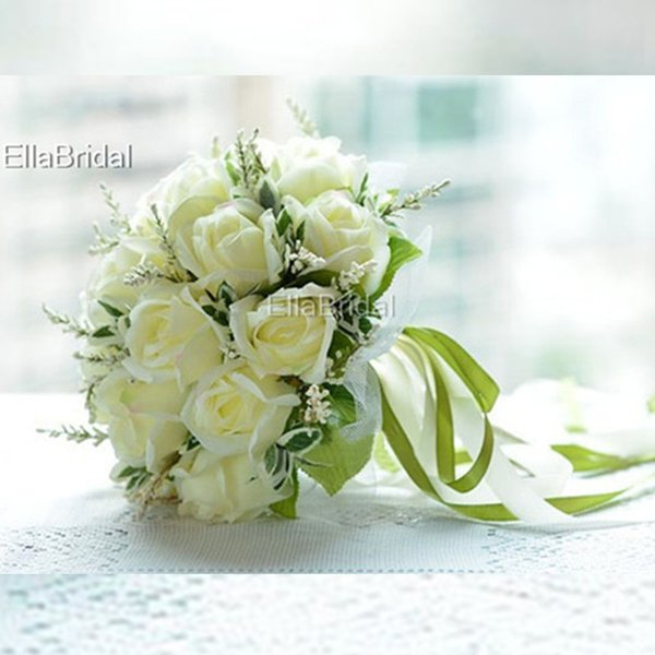 High Quality Ivory Rose Bridal Bouquet Hot 18 Flowers Bridal Throw Flower Green Leaves Wedding 100% Handmade Bridesmaid Bouquet with Ribbons