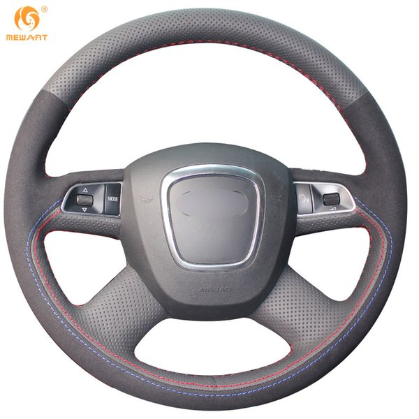 Mewant Black Genuine Leather Black Suede Car Steering Wheel Cover for Audi Old A4 B7 B8 A6 C6 2004-2011 Q5 2008-2012 Q7 2005-2011