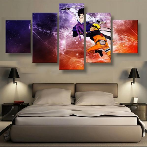5 Unids Sin Marco Arte Moderno Sasuke Naruto Lienzo Arte de la Pared Pintura Impresa Sala de estar Decoración Para El Hogar