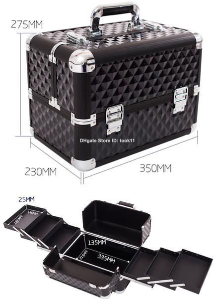 7cdc1443304a 2019 Professional Cosmetic Bag Big Hard Makeup Organizer Storage Box  Beautician Cosmetician Tool Make Up Case Metal Aluminium Handbag Top  Quality From ...
