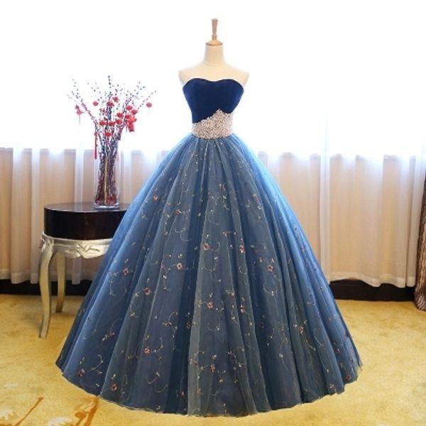 Azul real corona abalorios cintura vestido de gala cosplay vestido medieval Vestido de Renacimiento Vestido victoriano / María Antonieta / Belle Ball