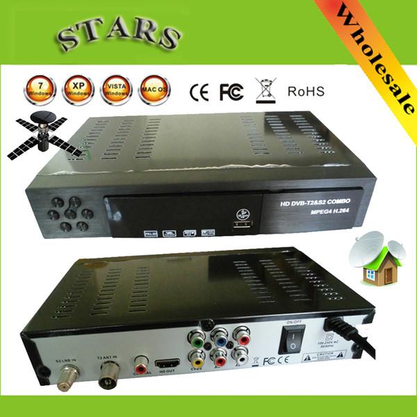 Wholesale-Digital Terrestrial Satellite TV Receiver Combo dvb t2 + S2 HD 1080P dvb-t2 dvb-s2 tv Box H.264 / MPEG-2/4 for Russia Europe