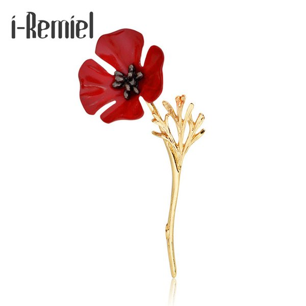 i-Remiel Fashion Red Poppy Flower Brooch Vintage Collar Pins for Men Jewelry Brooches Pins Boutonniere Men Suit Accessories