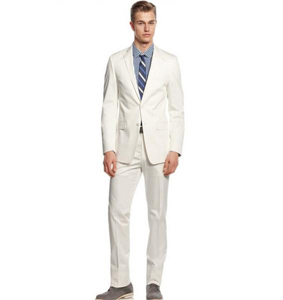 Custom made Male wedding suit men's party two piece suit design best man wedding white suits (jacket+pants)