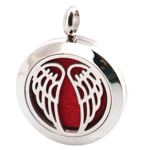 Angel Wing 25mm Aromatherapy Essential Oil surgical Stainless Steel Necklace Perfume Diffuser Locket Include Chain and 100pcs Felt Pads