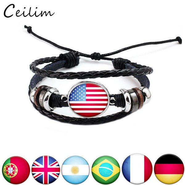 best selling 2019 USA Flag Leather Bracelet Olympic Games Fans Jewelry Handmade Woven Leather Multilayer Bracelets Custom-made Different National Flag
