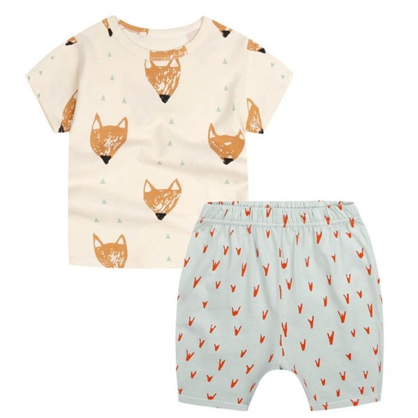 Children suit EuropeStyle 2017 new summer cotton suit baby cothes fox printing short sleeve T-shirt+ shorts 2pcs B4761