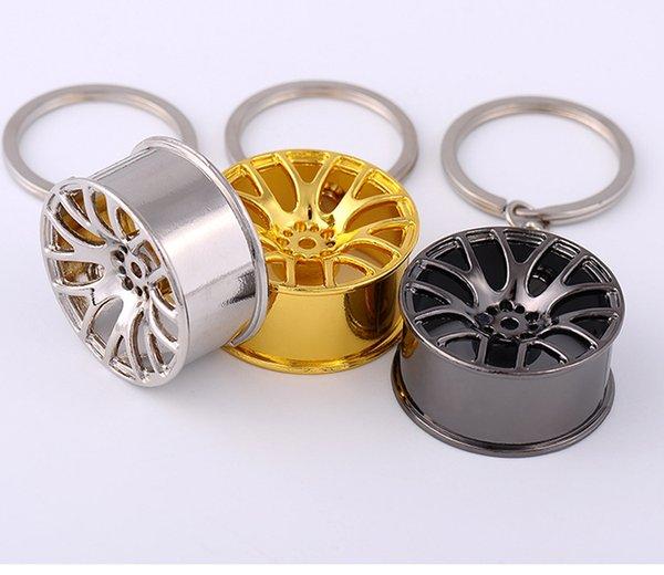 Nuevo diseño Rueda Hub Keychain Cool Metal llavero llavero coche llavero llavero regalo creativo para los fanáticos del coche