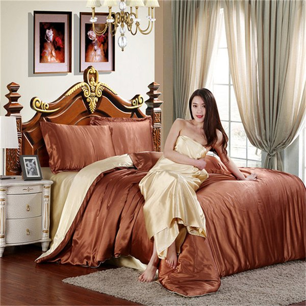 Wholesale- HOT! 100% pure satin silk bedding set,Home Textile twin queen King size bed set,bedclothes,duvet cover flat sheet pillowcases