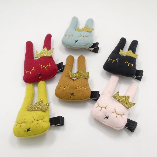 15 unids / lote Puffy Algodón Conejo Pascua Clip de Cabello Glitter Gold Crown Bunny Amarillo Rosa Marrón Negro Horquilla de Dibujos Animados Lindo Animal Grip