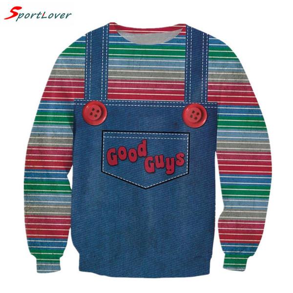 Wholesale-Sportlover Women/men cute stripe sweatshirts harajuku Denim strap style Jumper good guys chucky 3d sweatshirt pullovers hoodies