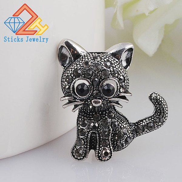 Modern Brooches Cute Little Cat Brooches Pin Up Jewelry For Women Suit Hats Clips Antique Silver Corsages