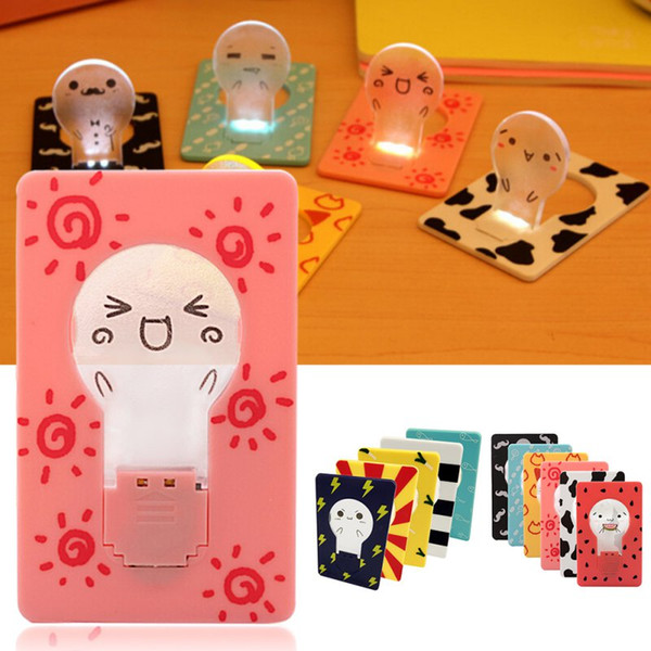 Wholesale- New Design Portable Cute Portable Pocket Fold switch LED Card Night Lamp Put In Purse Wallet Convenient Light