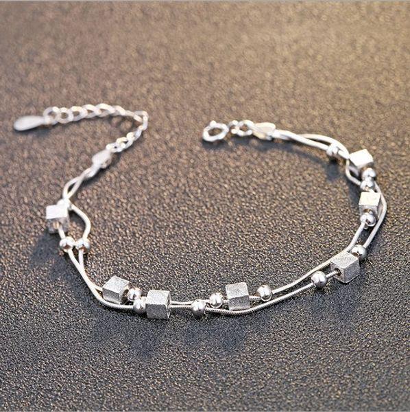 Fashion 925 Sterling Silver Bracelet Chain Bracelet Multi-layer Pendant Female Bracelet Pure Silver Women Gift 7 Styles Free Shipping
