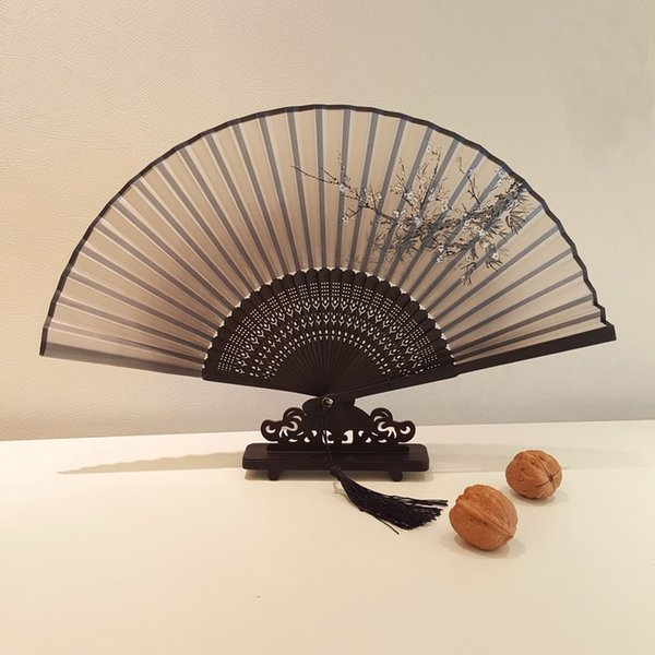 Chinese Folding Hand Fan Home Decor Silk Bamboo Flower Butterfly Pocket Fan Wedding Party Favor Folding Fans DHL Free Shipping