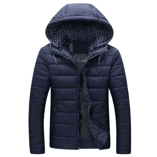 Venta al por mayor- 2016 nueva chaqueta de invierno para hombres abrigos con capucha casual para hombre abrigo grueso masculino delgado de algodón casual acolchado abajo prendas de vestir exteriores