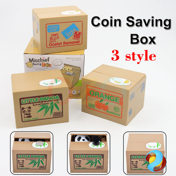 Creative Cute Piggy Bank Panda Cat Steal Money Coin Saving Storage Box Pot Case
