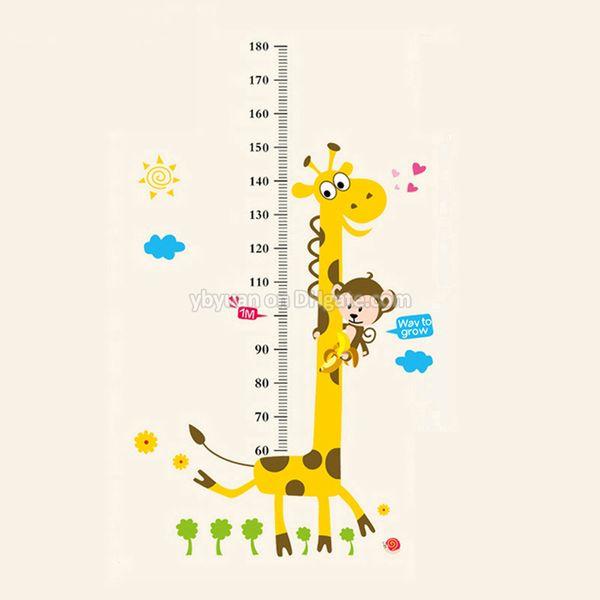 Stickers muraux amovibles d'enfants de PVC grand décalque de diagramme de croissance de taille de girafe de dessin animé pour la décoration de chambre d'enfants