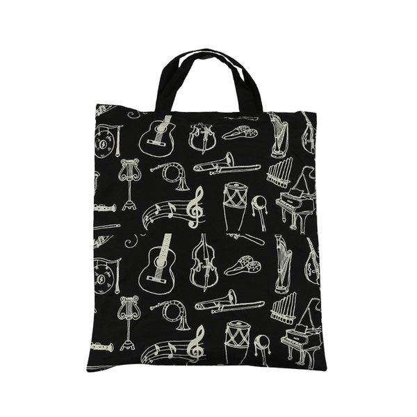 best selling 100% Cotton Handbag Tote Bag Shopping bags With Cute Cartoon Instruments