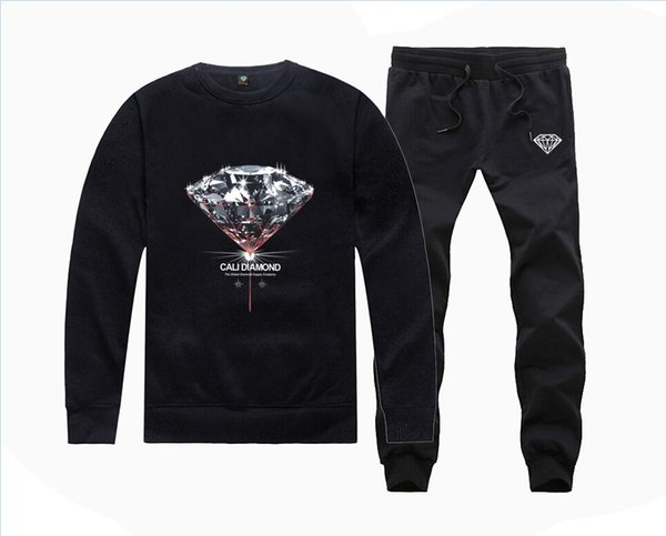 M6815 Hot-sale Diamond Supply Sweatshirts +PANTS suit for Men and Women Fleece Lined Hip Hop Tracksuits S-5XL