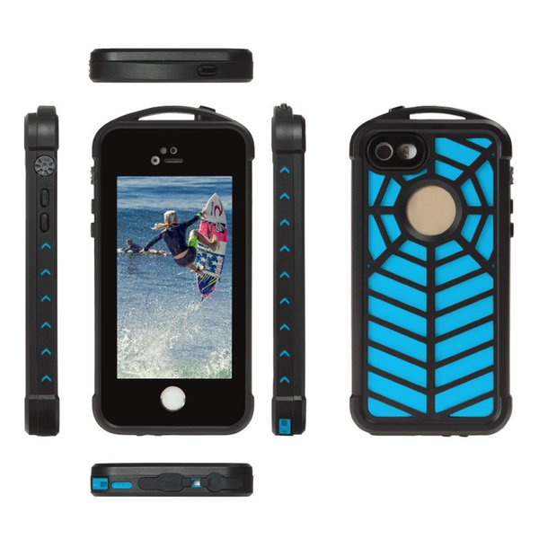 2017 New Arrival Waterproof Spider Web Phone Case for iphone 7 7Plus Swimming Diving Climbing Outdoor Sports Cell Phone Cover Shell with box