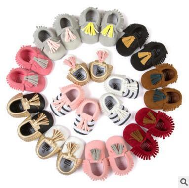Foreign trade fight color small seven tassels baby shoes soft bottom anti - skid shoes soft shoes 0953