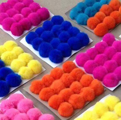 decoration 5cm rabbit fur balls puff rabbit Pom Pom ball for cloth keychains hat, hat decoration fur ball Support customization