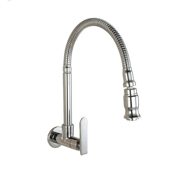 Wall Mounted Sprayer Kitchen Faucet Cold Water Faucet Single Handle Chrome Flexible Hose Kitchen Mixer Taps Single Holes Free Shipping
