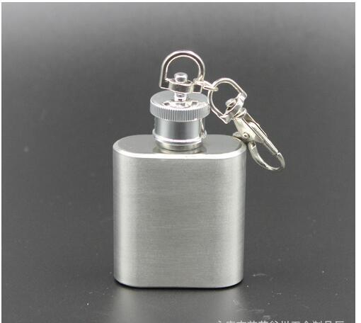 1oz Stainless Steel Hip Flask Alcohol Whiskey Wine Bottle Pocket mini keychain Flagon Flasks Container Via DHL