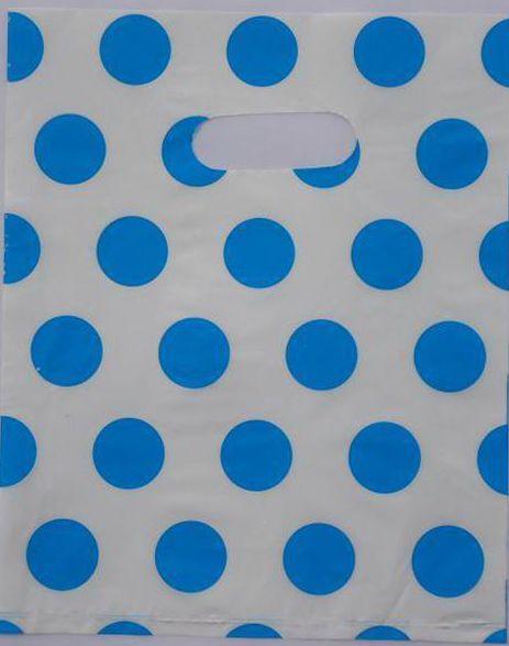 Vente en gros- 2015 Hot-vente 100pcs 35 * 25cm Bleu Mignon pois blancs Poignée En Plastique Sac À provisions Pour Cadeaux En Gros 015035069