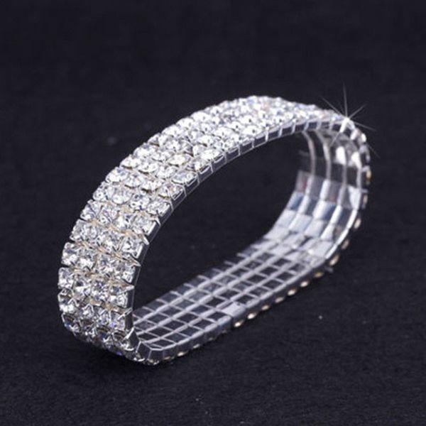 12 Stück Lot 4 Reihe Crystal Diamante Strass elastische Braut Armreif Stretch Großhandel Hochzeit Zubehör für Frauen