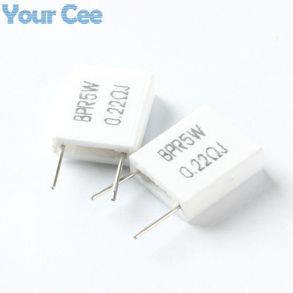 Wholesale- 20pcs 5W 0.22 ohm 0.22R BPR56 Non-inductive Ceramic Cement Resistor Electronic Component