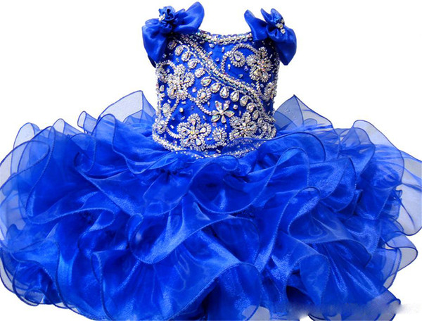 Princess Crystal Girls Cute Pageant Cupcake Dresses Infant Special Occasion Skirts Toddler Tutu Prom Party Short Pageant Gowns