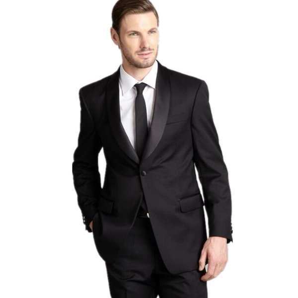 black men suit custom made bridegroom tuxedos suits handsome groom tuxedo slim fit one button prom suits(jacket+pants)