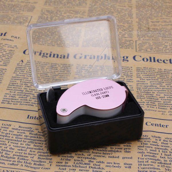 MG21011 Lupenbrille 40X 25mm 40x25mm 40 x 25 Juwelier LED-Licht Glas Lupe Großhandel Dropshipping neue Silber schwarz pink