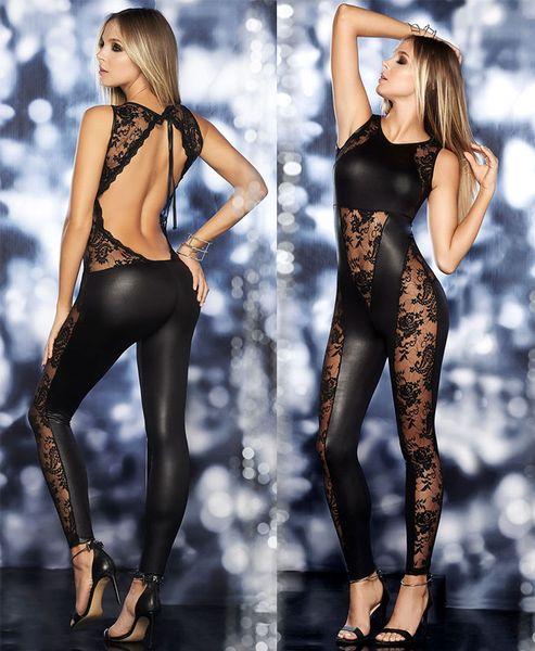 Sexy Lingerie PVC Spandex Black Lace Faux Leather Gothic Fetish Catsuit Jumpsuit Clubwear Fancy Dress 408