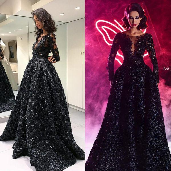 Abiti da sera fatti a mano Fiori neri Abiti da sera Pretty 3D Appliques floreali Perline Paillettes Prom Dress Backless Maniche lunghe Abiti da sera